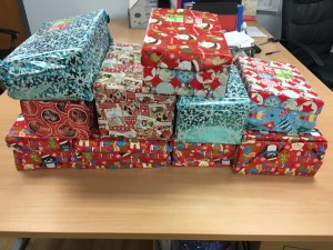 coloured wrapped boxes